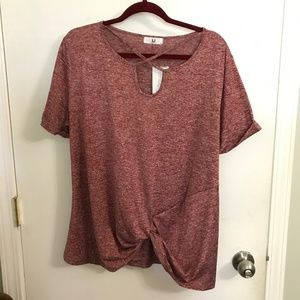 Burgundy marled top with knot gather